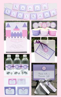 Princess Party Printable - (Pastel) Birthday Party Pack with Invitation, EDITABLE text PDF file - personalize at home with Adobe Reader. $14.95, via Etsy.