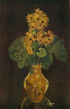 Flowers in a vase Georges Braque, Art Deco Paintings, Flower Paintings, Painting Art, Magazine Illustration, Fantasy Illustration, Flower Vases, Flower Art, Yellow Vase