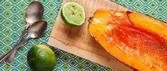 Baked Papaya with Lime - Turn the tropical fruit into an impressive dessert or snack with just two ingredients (skip the kiss of agave - papaya is so sweet, you won't need it!)