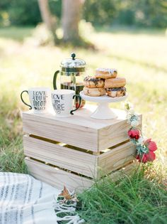 All Engagement Shoots Should Have Donuts + Coffee! - - Photographed by Dana Fernandez, this engagement shoot captured this couple perfectly - complete with donuts, coffee and a picnic! Fall Picnic, Picnic Theme, Picnic Birthday, Beach Picnic, Summer Picnic, Birthday Parties, Picnic Parties, Outdoor Parties, Dinner Parties