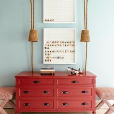 Red Dresser with Red X Stools - Transitional - Girl's Room Red Painted Furniture, Unique Furniture, Custom Furniture, Vintage Furniture, Furniture Design, Furniture Ideas, Painting Furniture, Red Dresser, Dresser As Nightstand