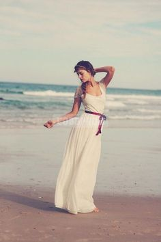 Short Sleeves A-line Scoope Lace Chiffon Beach Wedding Dress - Cobbprom.com