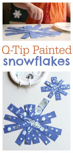 This snowflake craft is PERFECT for toddlers! Use paint in white, silver, and light blue.