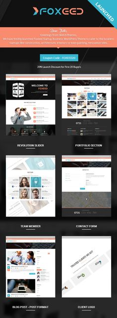 Foxeed Startup Business WordPress Theme on Behance