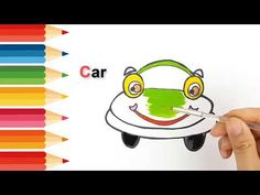 3 1 Step by step draw easy How to drawing and coloring funny Car . Only Child, Learning Colors, Working With Children, Step By Step Drawing, Car Humor, Coloring For Kids, Easy Drawings, Make It Yourself, Funny
