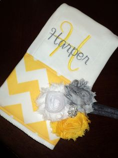 Chevron Personalized Baby Burp Cloth with Matching Shabby Chic Headband - Yellow and Gray - Perfect for a Girl Baby Shower. $19.99, via Etsy.