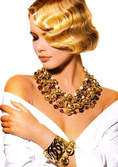 CLAUDIA SCHIFFER with CHANEL COSTUME JEWELLERY