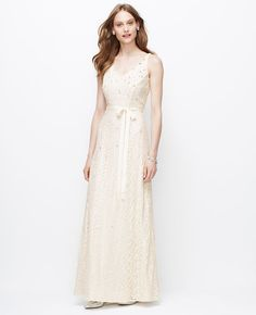 Embellished V-Neck Wedding Dress | Ann Taylor