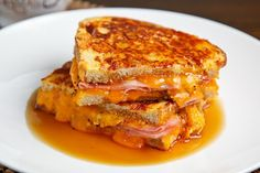 Monte Cristo by closetcooking: Breakfast grilled cheese sandwich (cooked french toast style fired golden brown)  with maple syrup. #Breakfast #Grilled_Cheese #closetcooking