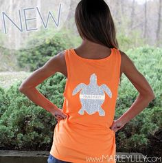 *NEW* We are absolutely #inlove with this Monogrammed Seersucker Sea Turtle Boyfriend Tank from Marleylilly.com! It's neon orange color is the perfect background for the light blue seersucker turtle!