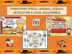 Thanksgiving Bundle: Language, Literacy, Articulation, Speech & Social Skills from Shanda from Shanda on TeachersNotebook.com (238 pages) - We have put together three of our Thanksgiving documents for you to use and to enjoy this November with a large variety of your students working on speech, language, literacy, articulation and social skills. The folders have been compressed into zip fi