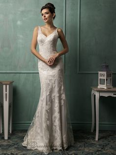 Straps V-neckline Lace Low Backless Wedding Dress