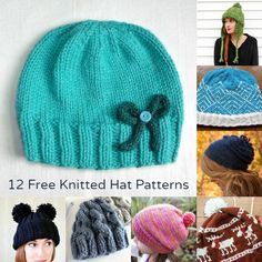 I wish I know someone who could knit, I want a hat with Pom-Pom ears!!! (Like the one in the bottom left)-Jess  Stay Warm: 12 Free Patterns for Knitted Hats - diycandy.com