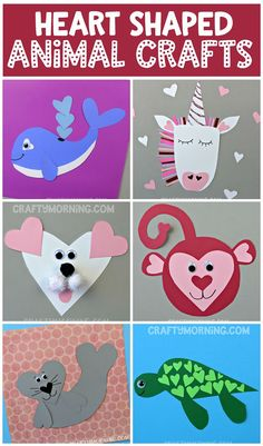 Make some heart shaped animal crafts for Valentine's Day! Fun valentine art projects for kids to make.