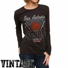 c0ad2dfcf Junk Food San Antonio Spurs Ladies Net Ball Long Sleeve Slim Fit T-Shirt -  Black