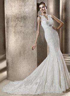 Mermaid V-neck Slim Fitted Empire Waist Beaded Applique Lace Wedding Dress-wm0090, $349.95