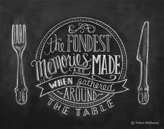 The fondest memories are made when gathered around the table. A true sentiment to display in your kitchen or dining room! Lovingly illustrated with a