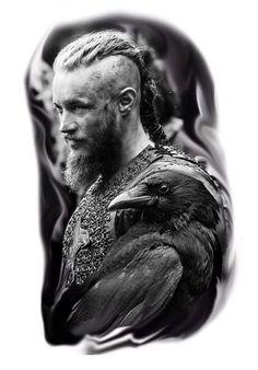 Vikings Travis Fimmel, Vikings Ragnar, Ragnar Lothbrok, Life Tattoos, Body Art Tattoos, Sleeve Tattoos, Black And White Portraits, Black And Grey Tattoos, Viking Warrior Tattoos