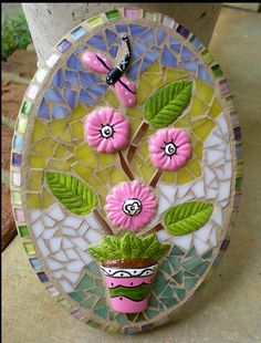 Pink Vase and Flowers Mosaic Wall Art
