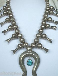 Vintage NAVAJO Huge Sterling Silver Beads & Spiderweb Turquoise Squash Blossom Necklace   eBay