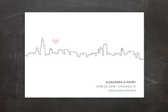 """""""Love In The City"""" - Simple, Destination Save The Date Postcards in Petal by Erin Deegan."""