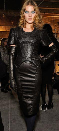 """lexeecouture: """" lexeecouture: """" Constance Jablonski - Zac Posen leather dress + gloves - #lexeecouture """" http://lexeecouture.tumblr.com/archive http://www.pinterest.com/lexeecouture123/pins/ """" leather dress gloves"""