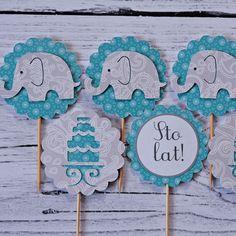 Blog & Party Shop. Piki do muffin turkus słonik , dekoracje na roczek, Piki do muffin, handmade, urodziny chłopca, dekoracje do muffin