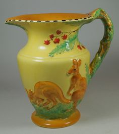 Burleigh Burgess & Leigh Art Deco Very Unusual Hand Painted Kangaroo Jug in Pottery, Porcelain & Glass, Pottery, Burleigh | eBay