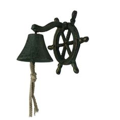 Handcrafted Nautical Decor Hanging Ship Wheel Bell Wall Décor & Reviews | Wayfair