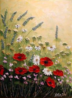 Original moderno flores Painting.Palette por NataSgallery en Etsy