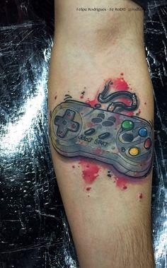 Console watercolor forearm tattoo tats and mods тату, эскиз, Gamer Tattoos, Movie Tattoos, Tattoos Skull, Badass Tattoos, Tattoos For Guys, Sleeve Tattoos, Tatoos, Nintendo Tattoo, Gaming Tattoo