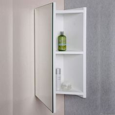 Wall Mounted Bathroom Corner Cabi Mirror White Wooden Storage - take this further... make a full length mirror in a corner of a bedroom and use the cabinet as jewelry/hair crap storage