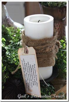 I like the burlap on the candles Candlestick Holders, Candlesticks, Diy Burlap Bags, Hello Everyone, Pillar Candles, Crafty, Farmhouse, Decor Ideas, Rustic