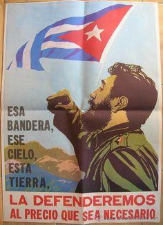 Revolución Cubana,Cuba,Tremendo Cartel años 60,Fidel Castro,Ché Guevara,1 joyita!!!!! - Foto 1