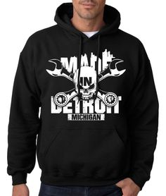 MADE IN DETROIT MICHIGAN HOODIE Sweatshirt Crossed the D Skull Hoody 313 Hooded #RockCityThreads #Hoodie