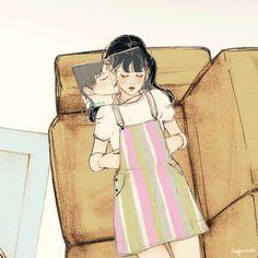 달콤한 바캉스(Sweet Holiday) by 살구 on Grafolio Family Illustration, Cute Illustration, Cute Couple Art, Cute Couples, Anime Gifs, Anime Art, 4d Animation, Blue Sargent, Cartoon Girl Drawing