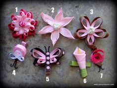 Art Daisy Ribbons - handmade hair bows - ribbon flowers and butterflies arts-crafts Handmade Hair Bows, Handmade Flowers, Diy Flowers, Fabric Flowers, Paper Flowers, Flower Ideas, Crochet Flowers, Ribbon Hair Bows, Diy Hair Bows