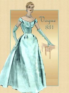Vogue Couturier 831 Vintage Gown Pattern 1950s Formal Evening Gown with Wedding Dress Adaptability