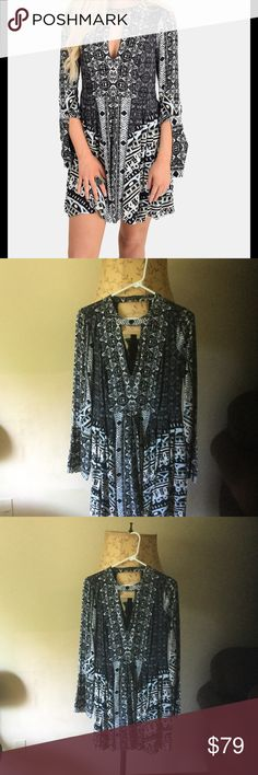 Free People dress with beautiful bell sleeves Free People dress with beautiful bell sleeve. Brand new Free People Dresses Mini