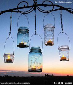 Hanging Lanterns 20 DIY Mason Jar Hangers Outdoor Wedding Mason Jar Candle Holders DIY  (No Jars). $60.00, via Etsy.