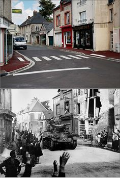 1944: A French armoured column passing through Sainte-Mère-Église receives a warm welcome from its inhabitants. 7 May 2014: A view of the high street today.