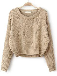 khaki knit pullover.