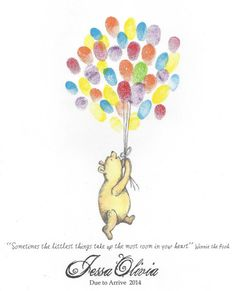 Bear being lifted by Balloons, Fingerprint Guest Book, Winnie the pooh Inspired, Nursery art, Color, Shower, Birthday, Custom Printable D