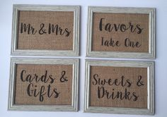 Set of Wedding Party Sign WITHOUT FRAMES burlap by laceburlapshop