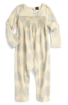 Tea Collection 'Estrella' Metallic Print Romper (Baby Girls) available at #Nordstrom