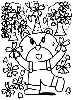 クマちゃんが桜の中にいます。 春!好きな色塗ってお部屋に飾ってもOK!