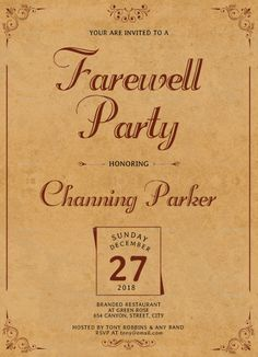 Going Away Party Flyer Template New Free Printable Invitation Templates Going Away Party Farewell Party Invitations, Farewell Parties, Commercial Printing, You Are Invited, Flyer Template, Flyer Design, Rsvp, Motivational Quotes, Templates