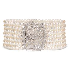 Mastoloni 7-Strand Pearl & Diamond Clasp Bracelet White Pearl One Size ($2,850) ❤ liked on Polyvore featuring jewelry, bracelets, accessories, jewels, pearls, women, pearl jewelry, diamond bangle, diamond jewellery and vintage style jewelry