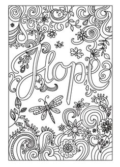 Hope colouring page #words Amanda Hillier