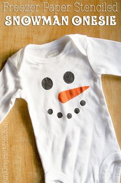 """Easy DIY snowman onesies - including an Olaf """"I like warm hugs"""" onesie made with heat transfer vinyl. Great gifts for winter babies! # Easy DIY clothes Two Easy DIY Snowman Onesies - unOriginal Mom Diy Snowman Gifts, Baby Winter, Winter Babies, Freezer Paper Stenciling, Cute Onesies, Baby Boy Christmas, Diy Clothes Refashion, Diy Clothes Videos, Boy Onesie"""